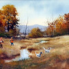 Wayne Spradley captures the art of the hunt in this oil on canvas.