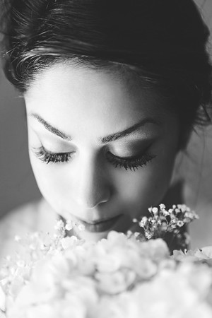 The beautiful bride with her bouquet