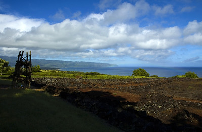 Early Morning Rainbow Over Waimae Bay Heiau Pu'u o Mahuka, a Sacred Site   'Anu'u Oracle Tower (on left)