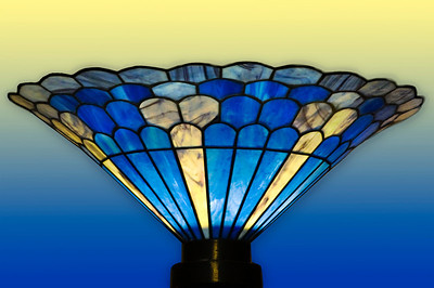 Antique blue and gold Stained Glass Lamp  Honolulu, Hawaii