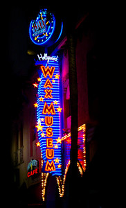 Neon Blue and Red Wax Museum  Hollywood, California