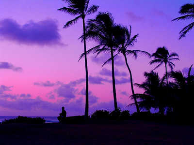 Silhouette of person sitting on a bench watching the sunset  North Shore of O'ahu, Hawai'i