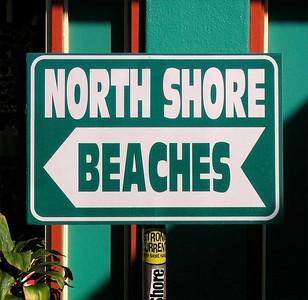 North Shore Beaches  Sign at Strong Currents surf shop along the Kam Hwy in Hale'iwa  North Shore of O'ahu, Hawai'i