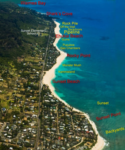 SURF CAPITOL OF THE WORLD -  WHERE THE TRIPLE CROWN OF SURFING is held every Winter!  Map with North Shore surf spots