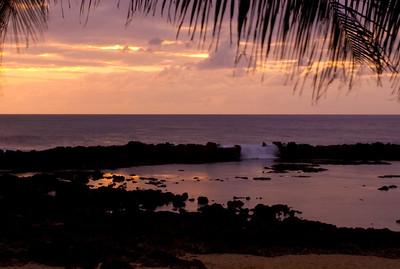 Sunset at Shark's Cove  April,  North Shore of O'ahu, Hawai'i