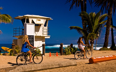 Sunset Beach Lifeguard Tower Biking along the North Shore Bike Path