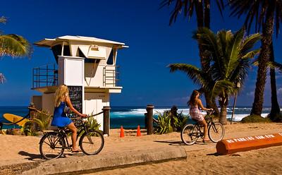 Sunset Beach Lifeguard Tower Biking along the North Shore Bike Path