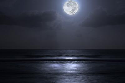 Moon over the oceanNorth Shore of O'ahu, Hawai'i  December 4, 2006