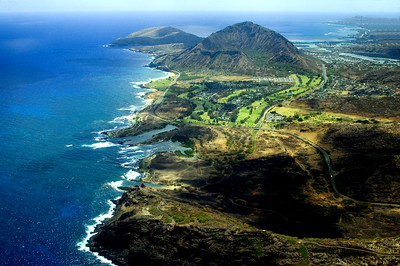Southern Coastline, aerial view  Climb up to the top of Koko Crater for a great view