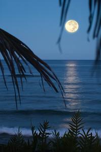 Moonset off Sunset PointNorth Shore of O'ahu, Hawai'i