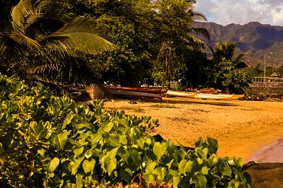 Canoes near Haleiwa Boat Harbor Haleiwa Town 2004