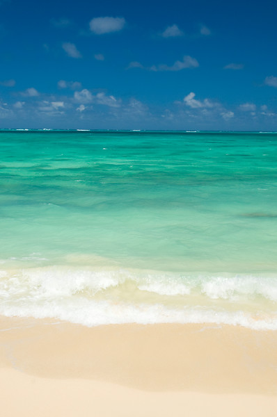 Incredibly white powdery sand and bright turquoise water of Waimanalo Bay<br /> <br /> O'ahu, Hawai'i