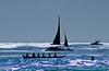 Waikiki <br /> Silhouettes of rowers and boats<br /> <br /> Waikiki, O'ahu, Hawai'i
