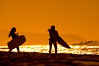 Surfers silhouettes of girls at sunset<br><br>Sunset Beach, North Shore of O'ahu, Hawai'i