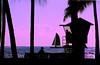 Silhouetted Lifeguard Tower and Sailboat<br /> <br /> Waikiki, Hawai'i