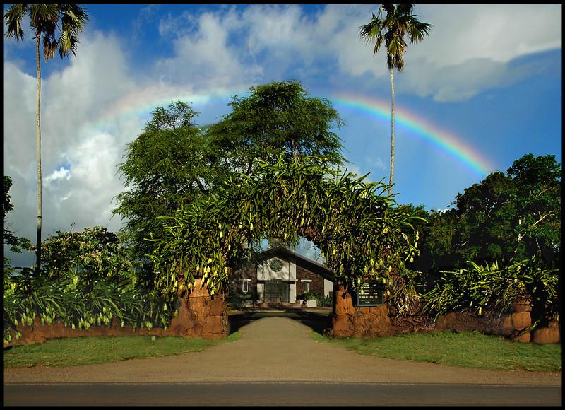 Rainbow over Lili'oukalani Church in Hale'iwa on the North Shore, Oahu, Hawaii