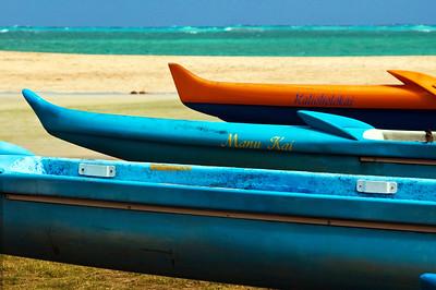 Kailua Beach Park  Colorful Outrigger canoes along Kaelepulu Stream  Windward, O'ahu, Hawai'i 021707.120837