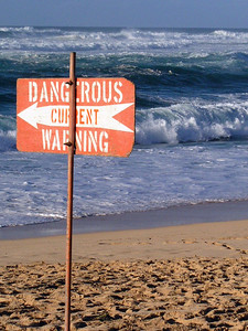 Dangerous warning signon a North Shore BeachNorth Shore, Oahu, Hawaii