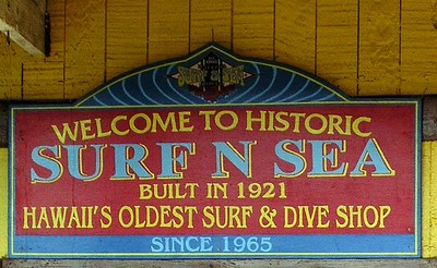Historic Surf N Sea sign < outside the Surf N Sea surfshop between Hale'iwa Beach Park and the famous Rainbow Bridge over Anuhulu StreamHale'iwa, North Shore, Oahu, Hawaii