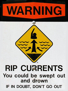 Warning, Rip Currents signon a North Shore BeachNorth Shore, Oahu, Hawaii