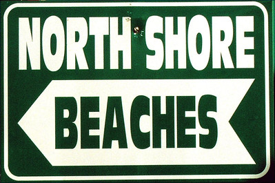 North Shore Beaches sign outside the Strong Currents surf shop in the middle of Halei'waNorth Shore, Oahu, Hawaii