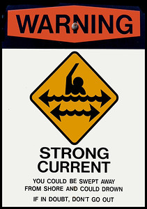 Warning, Strong Currents signon a North Shore BeachOahu, Hawaii