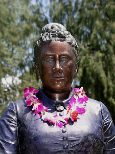 Queen Kapiolani was one of the last queens of Hawaii (her sister, Lili'uokalani, was the last, deposed in 1893).  Not to be confused with her great aunt Kapiolani, one of the first Christian converts in the island who defied the god Pele by walking into a volcano crater, she was best known as the wife of  Kalakaua, whose rule saw a resurgence of interest in traditional Hawaiian culture, even as they were accused of squandering the wealth of the islands as they travelled the world and cultivated European sophistication.On June 11, 1877, King Kamehameha Day, then-King David Kalakaua donated some 140 acres of land to the people of Hawaii for Hawaii's first park. He asked that the park be named after his beloved wife, Queen Kapiolani. Queen Kapiolani was a beloved figure in Hawaiian history. Location: Kapiolani Park, Waikiki, Hawai'i