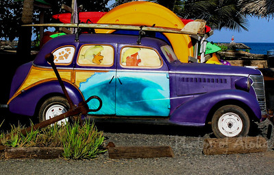 Vintage Surf Car  was parked outside Surf N Sea surf shop until it literally rusted away . . .