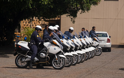 Haleiwa  Police Officers on motorcycles, all in a row   North Shore, Oahu, Hawaii