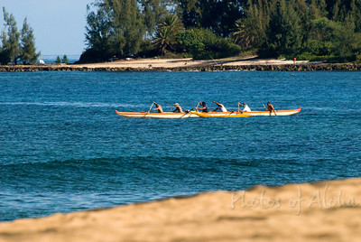 Canoeists off Hale'iwa Beach  near Hale'iwa Harbor