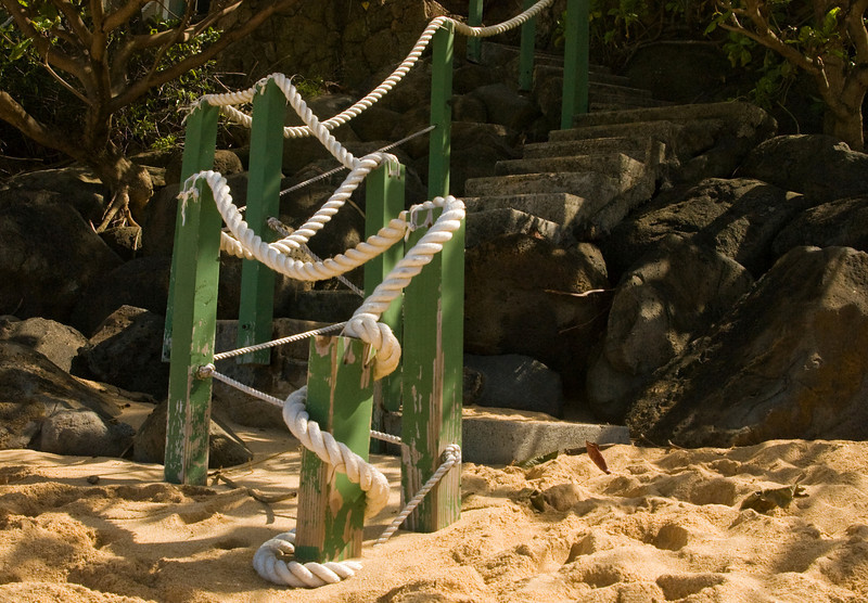 Wood and rope stairway from the beach<br /> <br /> North Shore of O'ahu, Hawai'i