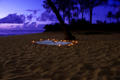 Candlelight proposal Sunset Point North Shore, Oahu Hawaii