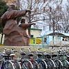 A Taekwondo Statue in streets of Pyongyang