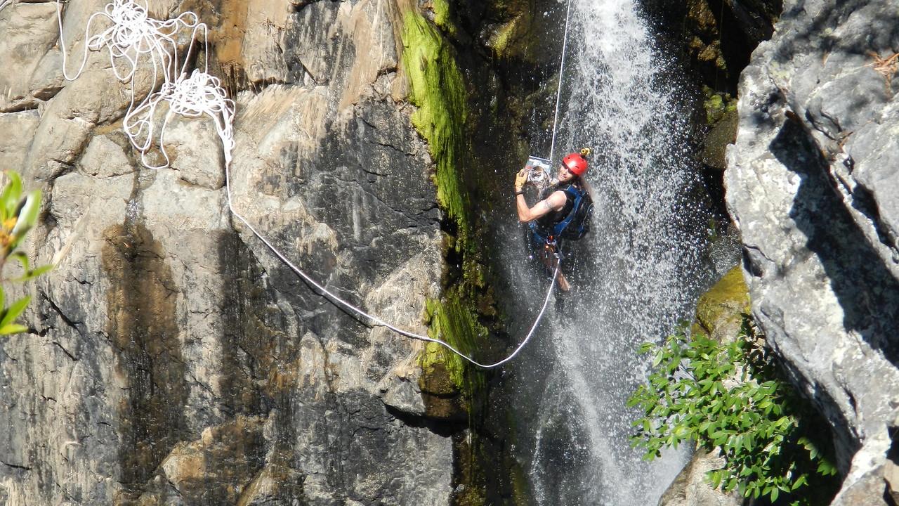 Danger Dom descending Top Plunge, Yabba Falls