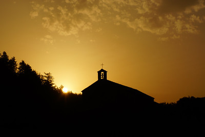 Sunrise behind Notre-Dame de Valvert