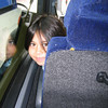 Heather on the bus to the Disney Wonder