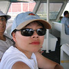 JoMay on the boat to the Dolphin Encounter