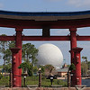Spaceship Earth viewed through the torii gate at the Japan Pavilion.
