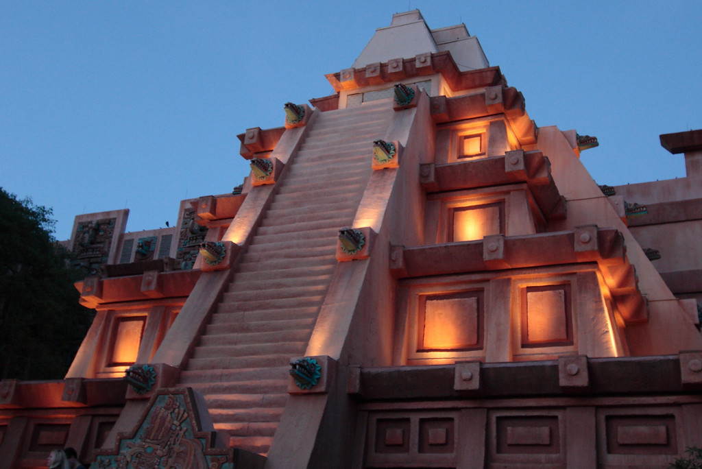 Evening view of the pyramid at the Mexico Pavilion