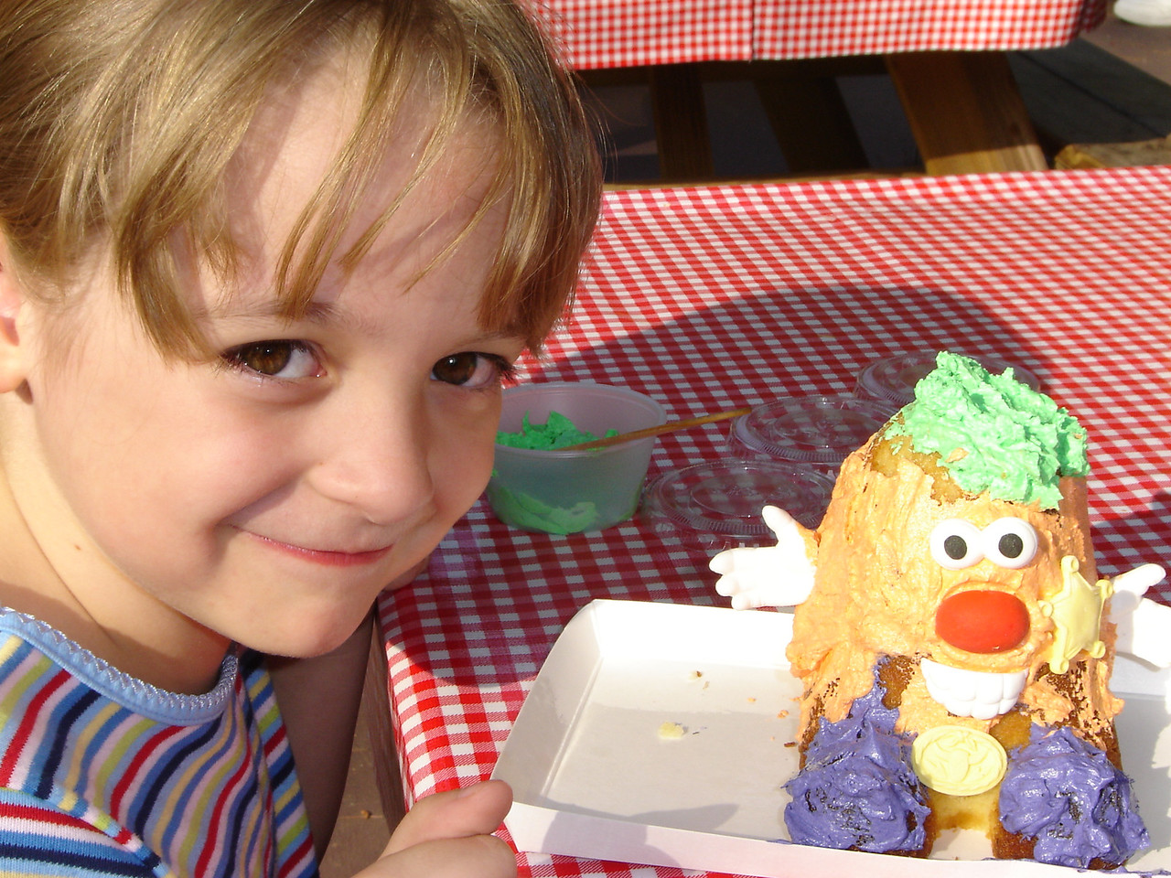 For seven dollars they had a cake that you could decorate to your hearts content. I think it closely resembled Mr Potato Head.