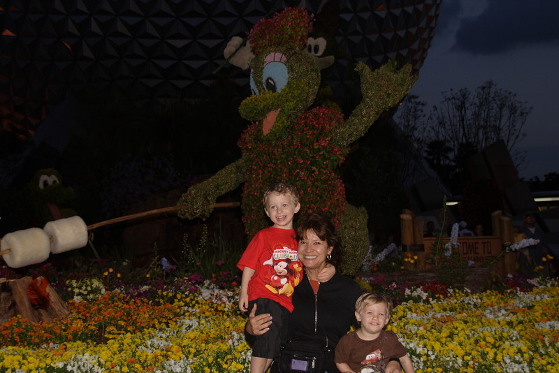 Flower and Garden festival at the entrance to EPCOT..it was very dark.