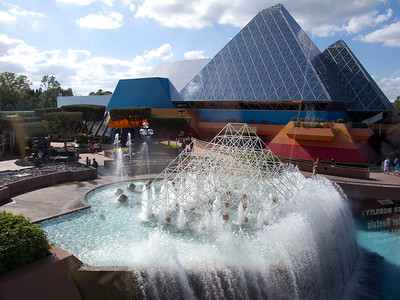 One of the beautiful fountains in Epcot; taken from the monorail