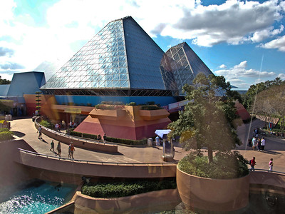 Sunlight on the Pyramid viewed from the monorail
