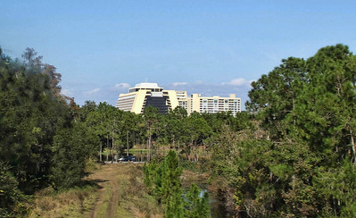 Viewing the Contemporary and Bay Lake Tower from the monorail on the way to Epcot
