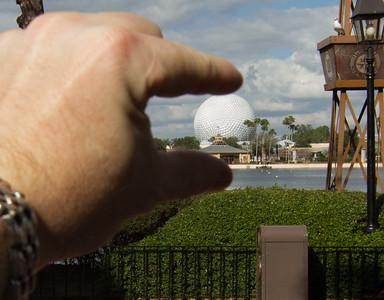 EPCOT Visit - Scott Pinching Spaceship Earth