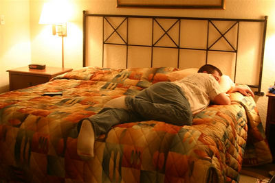 Charlie sleeping after our trip down to Disney