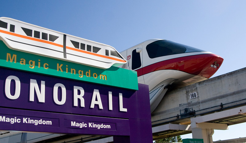 Monorail trains of Walt Disney World.  This one is leaving the transportation center on its way to the Magic Kingdom.