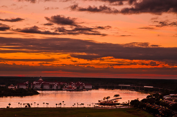 Sunset at Disney's Grand Floridian Resort & Spa as seen from Bay Lake Tower.