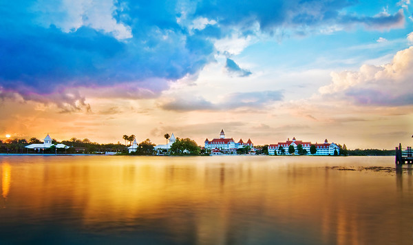 "The sunset view of Disney's Grand Floridian Resort & Spa. Used a neutral density filter here to make the water smooth and glossy. <br /> <br /> Visit my blog for info, photos, and reviews of Disney hotels: <a href=""http://www.disneytouristblog.com/disney-resorts/"">http://www.disneytouristblog.com/disney-resorts/</a>"