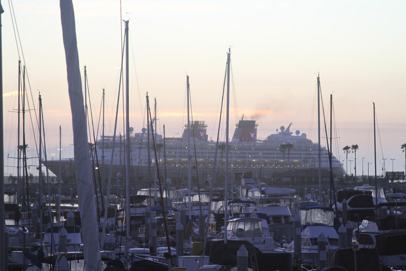 Disney Wonder arrives in San Pedro - pre dawn on Sunday 2/10- from our room at the Doubletree.